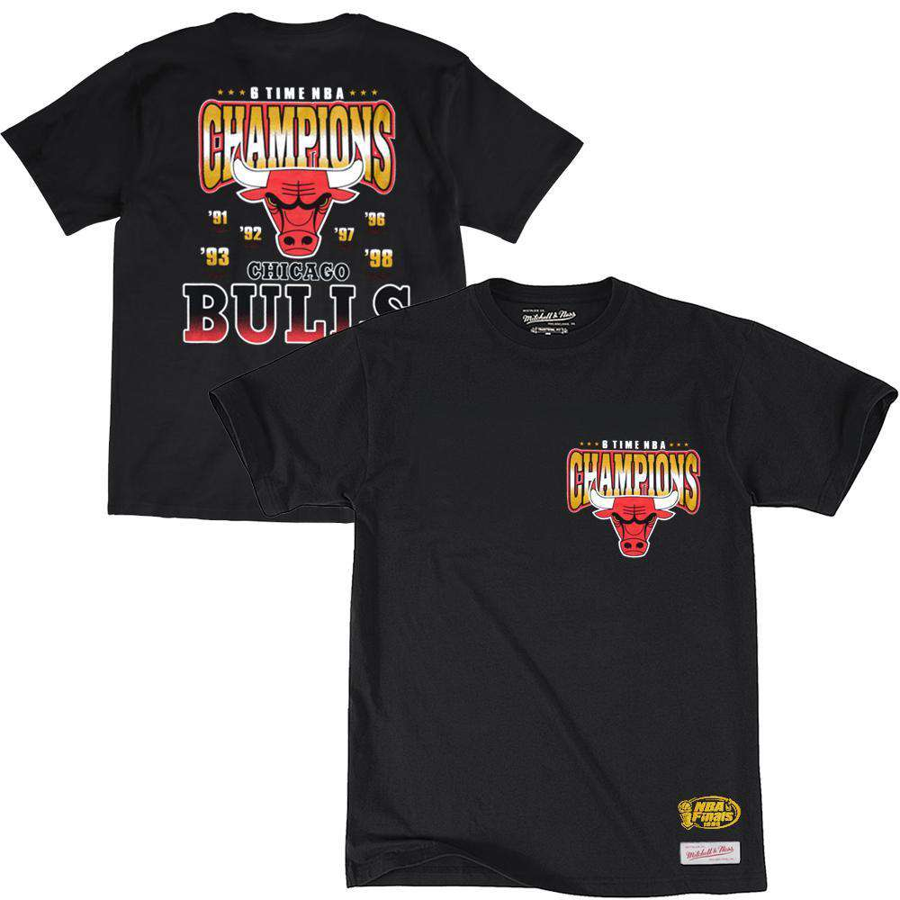 buy online 6d33a 551a5 Chicago Bulls Mitchell & Ness 6 Time NBA Champions T-Shirt - Black