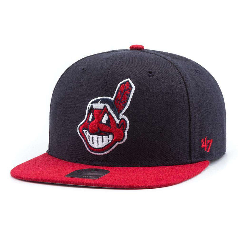 Cleveland Indians '47 MLB 2 Tone Captain Snapback Hat - Navy/Red