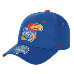 Kansas Jayhawks Zephyr NCAA ZH Team Classic Stretch Fit Curved Hat - Blue