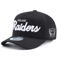 Oakland Raiders Mitchell & Ness NFL Team Script 110 Curved Snapback Hat - Black
