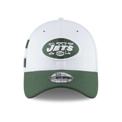 New York Jets New Era NFL 2018 Sideline 39THIRTY Stretch-Fit Curved Hat - White