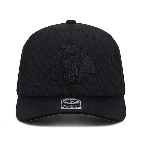 Chicago Blackhawks '47 NHL Black On Black Audible DB Pre-Curved Snapback Hat