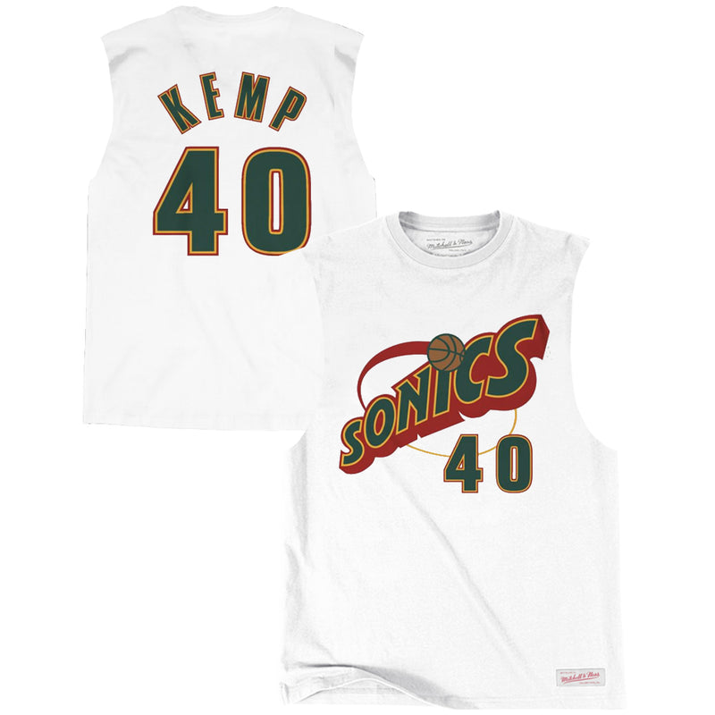 Shawn Kemp Seattle Supersonics Mitchell & Ness NBA Player Muscle T-Shirt - White