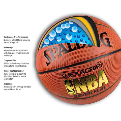 Spalding NBA Hexagrip Composite NEVERFLAT Basketball Ball - Size 7