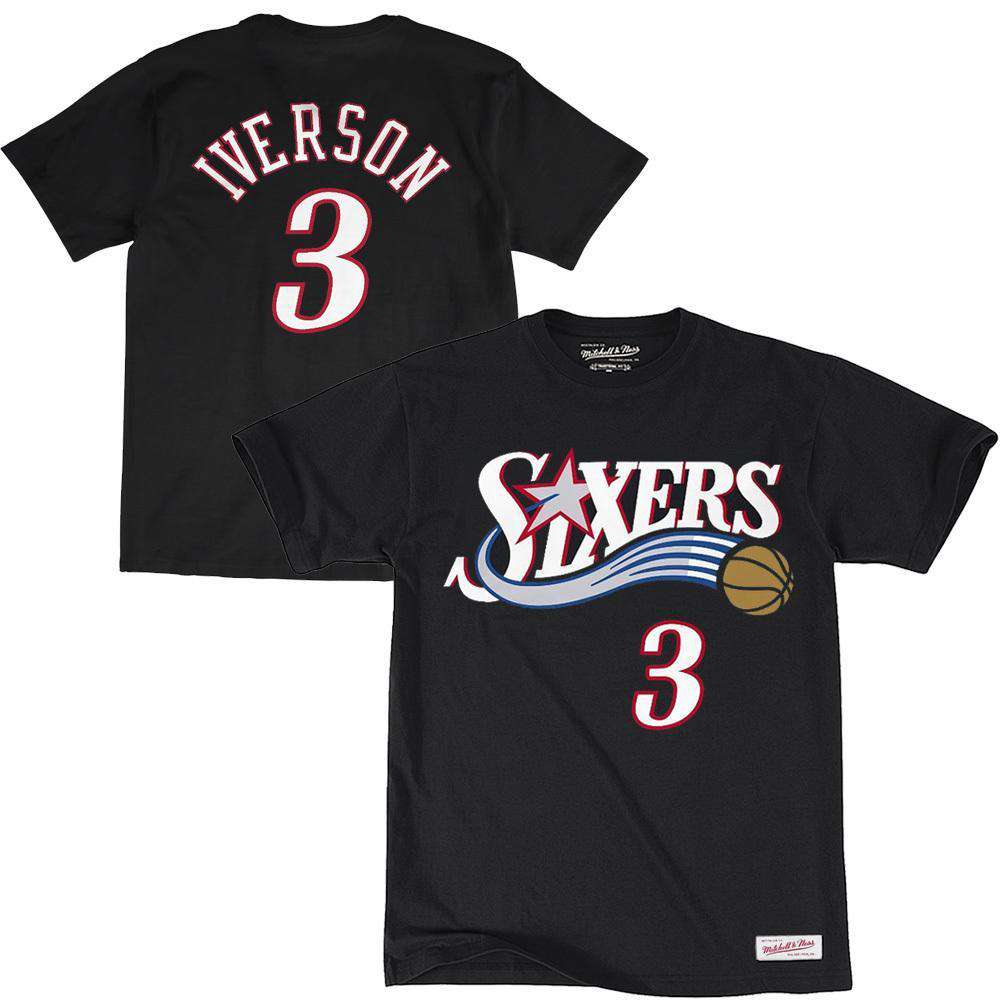 e614d9b313d Allen Iverson Philadelphia 76ers Mitchell & Ness NBA Player T-Shirt - Black