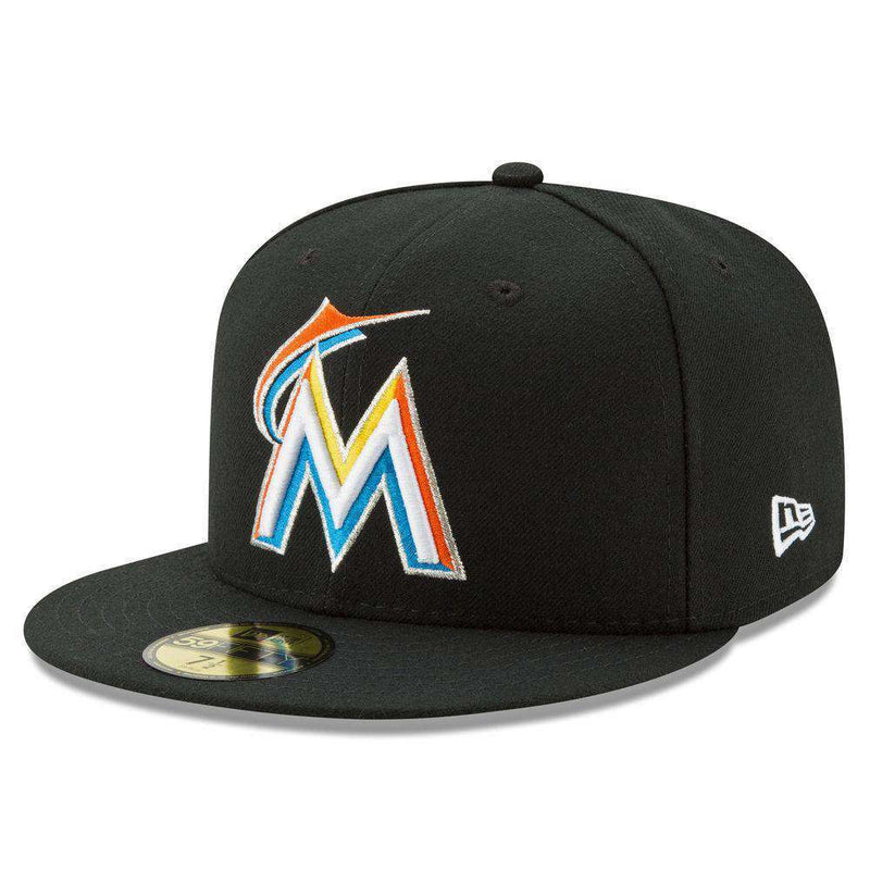 Miami Marlins New Era MLB AC On-Field 59FIFTY Fitted Hat - Black