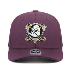 Mighty Ducks '47 NHL Team Audible DB Pre-Curved Snapback Hat - Plum