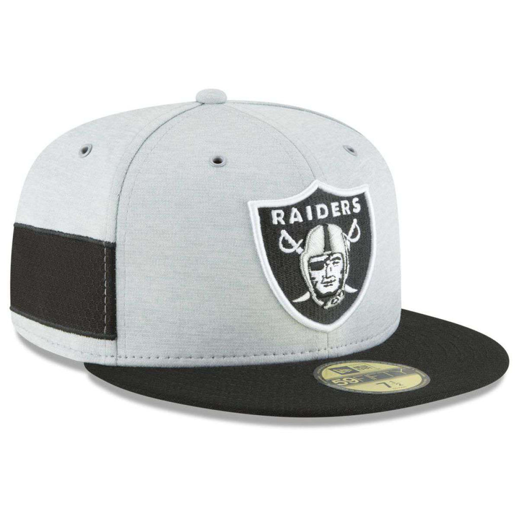 low priced 01180 c0dad Oakland Raiders New Era NFL 2018 Sideline 59FIFTY Fitted Hat - Grey