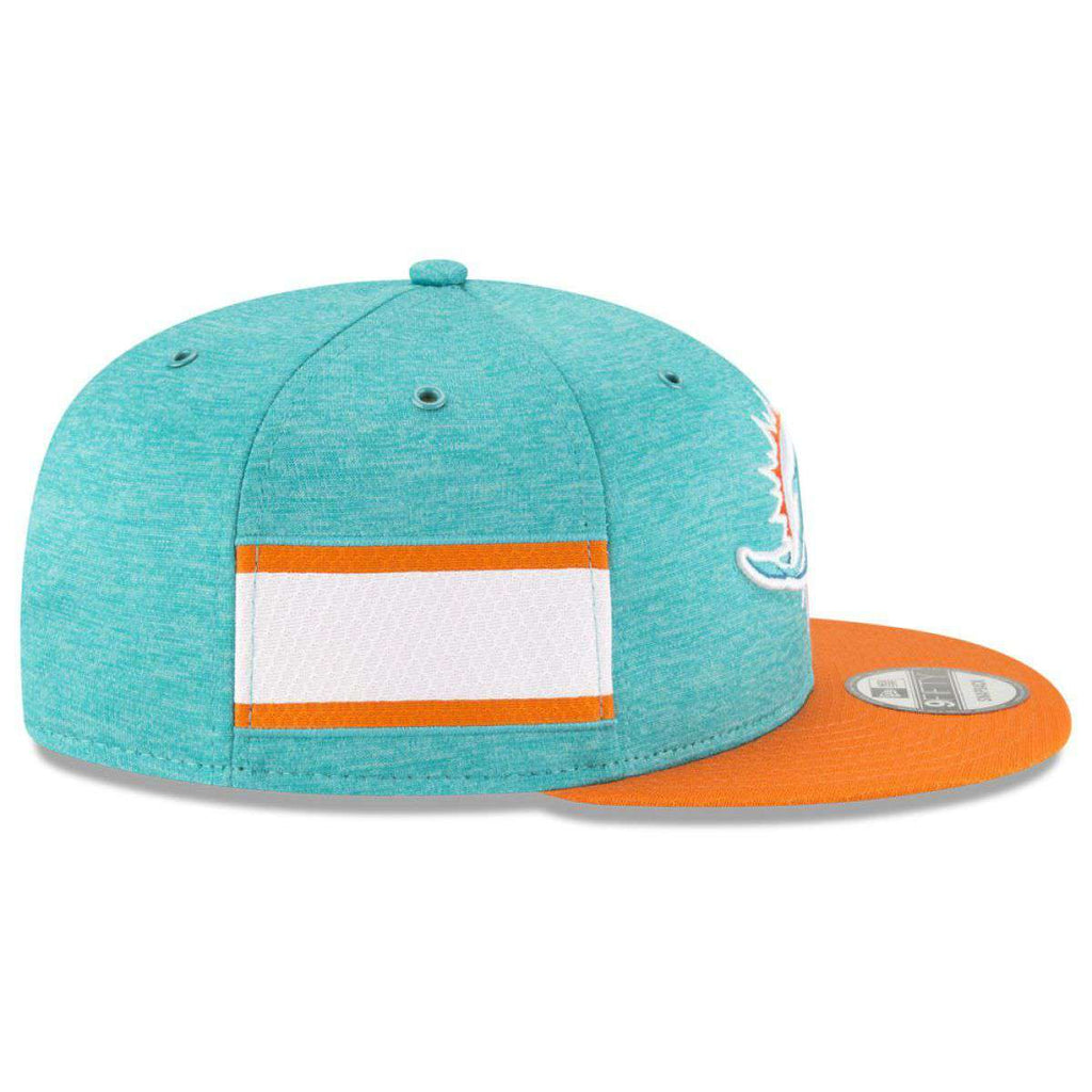 check out c456e e4dd2 Miami Dolphins New Era NFL 2018 Sideline 9FIFTY Snapback Hat - Aqua