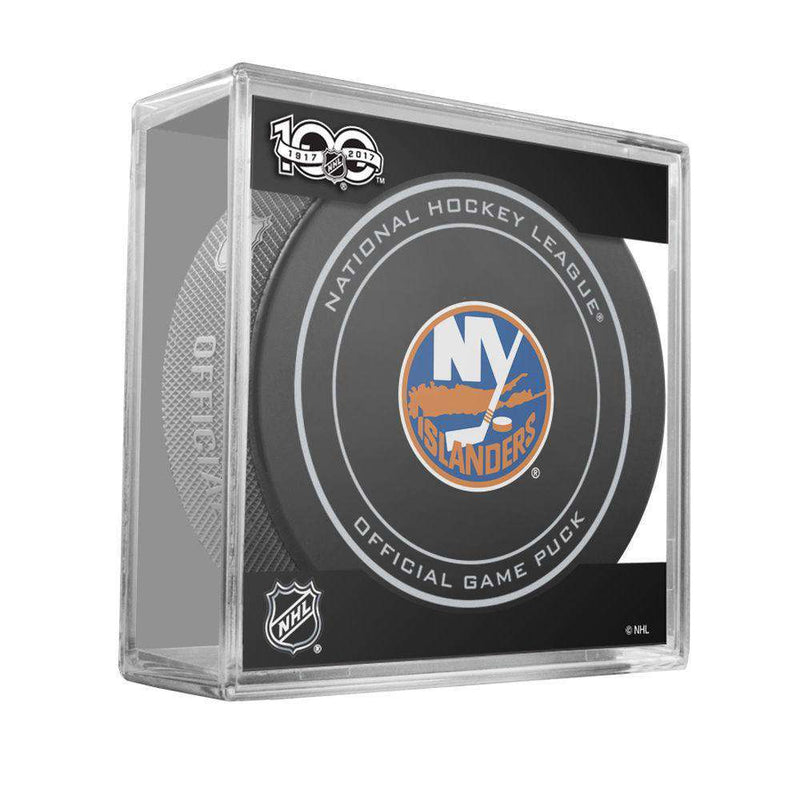 New York Islanders Sher-Wood NHL Anniversary Puck w/Case