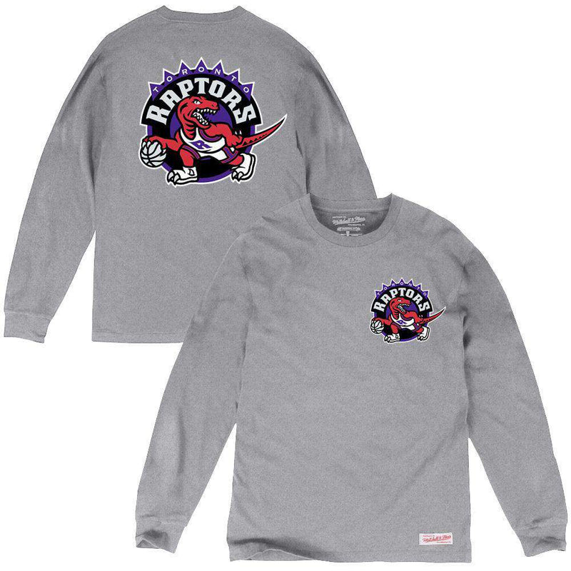 Toronto Raptors Mitchell & Ness NBA HWC Triple Double Long Sleeve T-Shirt - Grey