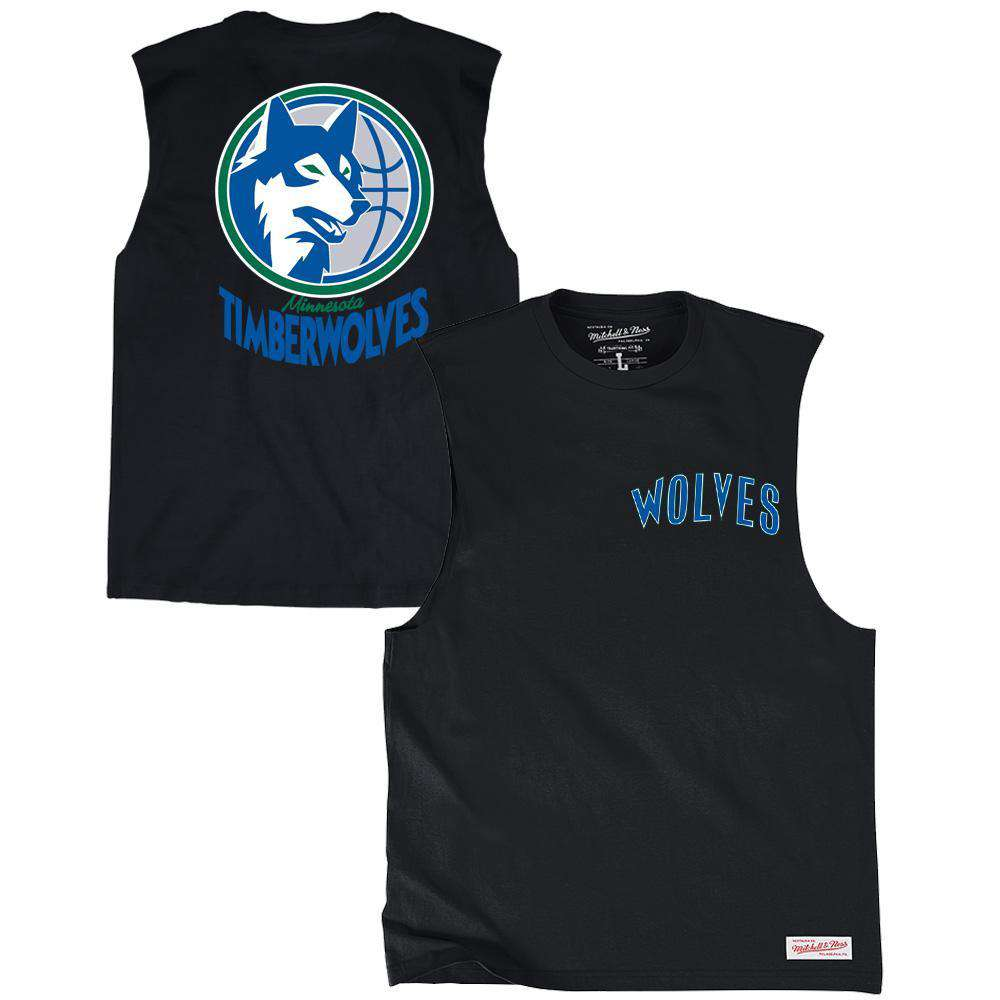 Minnesota Timberwolves Mitchell   Ness NBA Retro Repeat Muscle T-Shirt -  Black ab5ec8a47