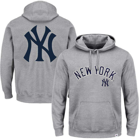 New York Yankees Majestic MLB Rolsher Hoodie Jumper - Grey