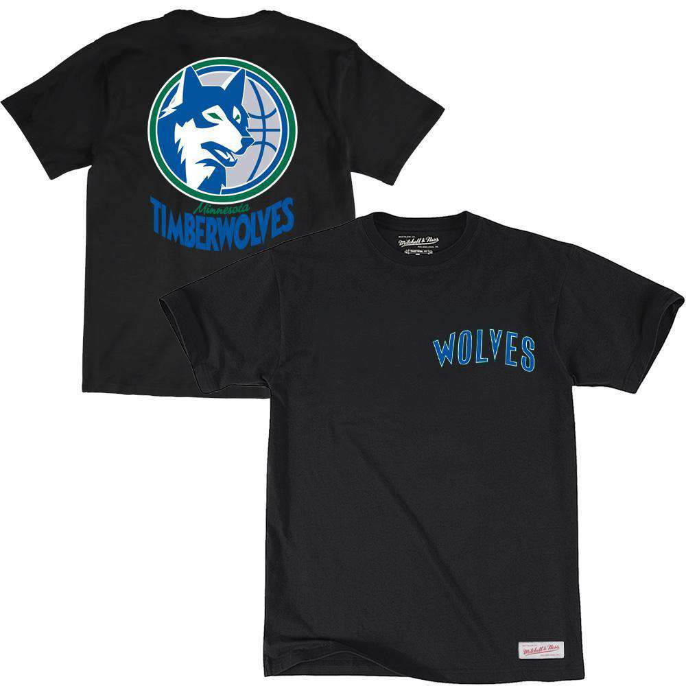 Minnesota Timberwolves Mitchell   Ness NBA Retro Repeat T-Shirt - Black afe9a4599
