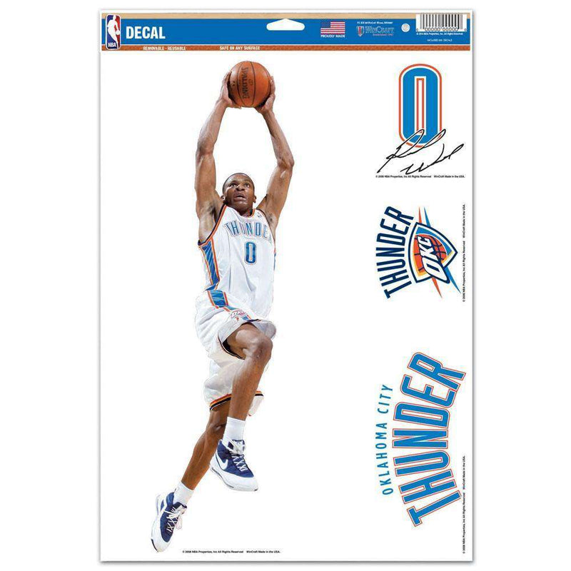 "Russell Westbrook Oklahoma City Thunder Wincraft NBA Multi-Use 11"" x 17"" Decal Set"