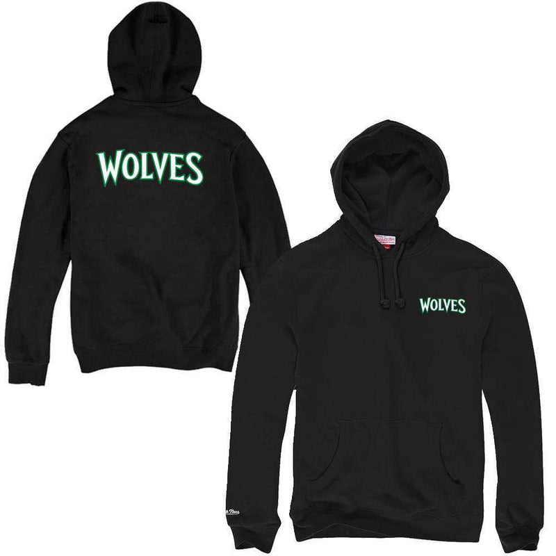 Minnesota Timberwolves Mitchell & Ness NBA HWC Pocket Wordmark Hoodie Jumper - Black