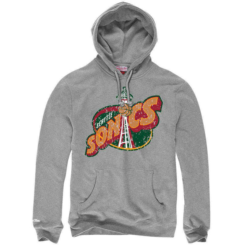 Seattle Supersonics Mitchell & Ness NBA HWC Distressed Hoodie Jumper - Grey