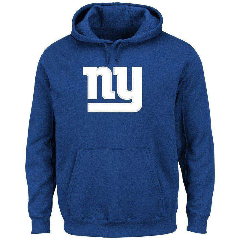 New York Giants Majestic NFL Tek Patch Hoodie Jumper - Blue