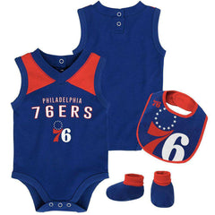 Infant Philadelphia 76ers Outerstuff NBA Creeper Bib Bootie Set - Blue
