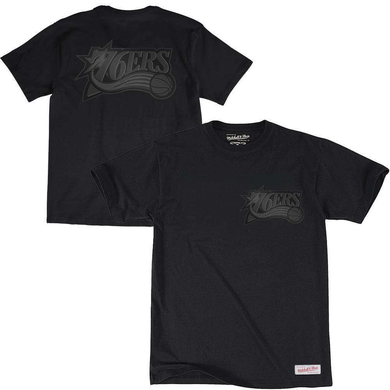 Philadelphia 76ers Mitchell & Ness NBA Tonal Wordmark Logo T-Shirt - Black