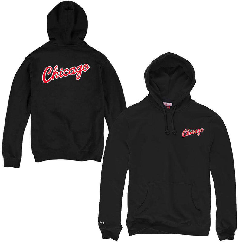 Chicago Bulls Mitchell & Ness NBA HWC Pocket Wordmark Hoodie Jumper - Black