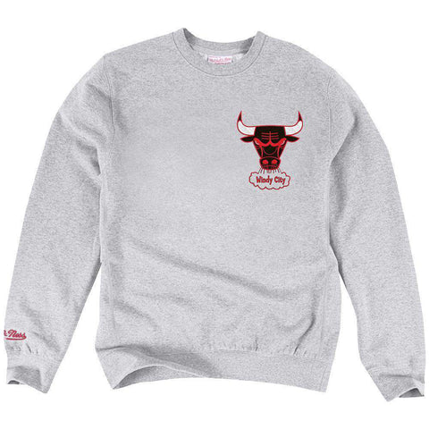Chicago Bulls Mitchell & Ness NBA Playoff Win 2 Crew Jumper - Grey