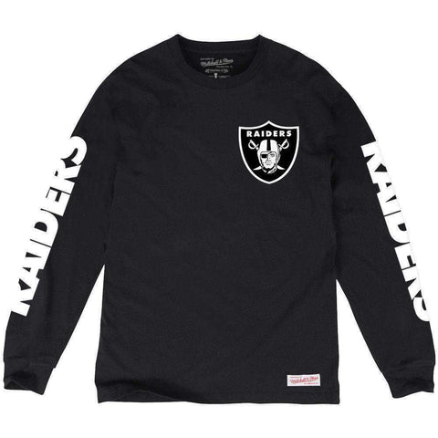 Oakland Raiders Mitchell & Ness NFL Wordmark Sleeve Long Sleeve T-Shirt - Black