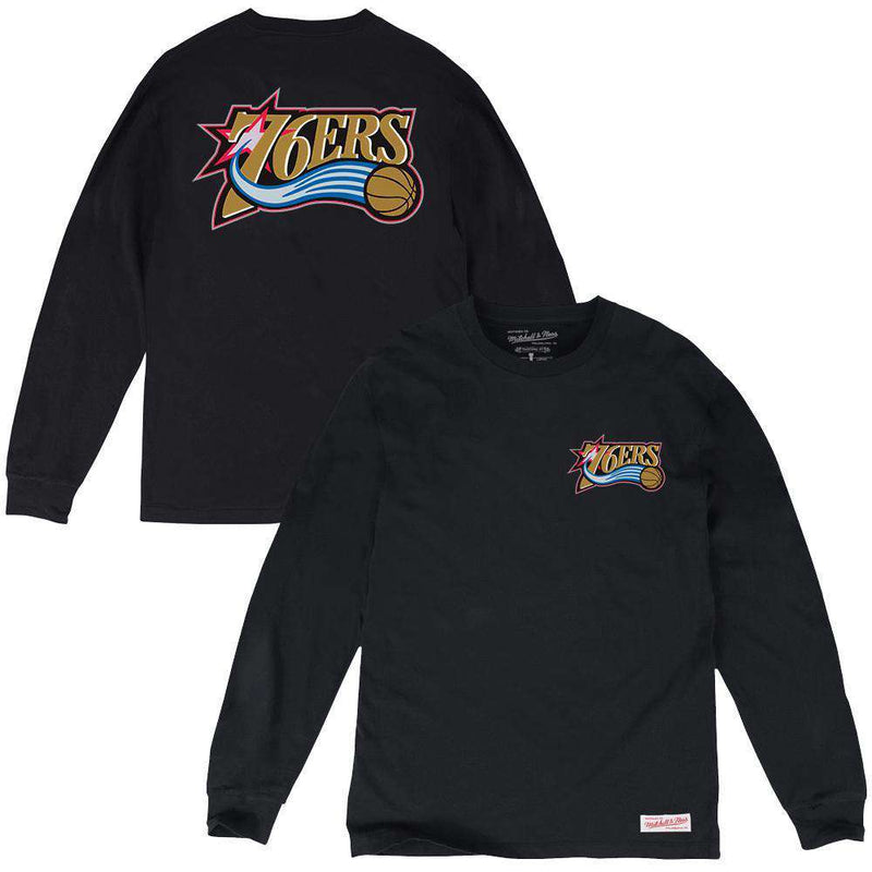 Philadelphia 76ers Mitchell & Ness NBA HWC Triple Double Long Sleeve T-Shirt - Black