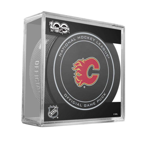 Calgary Flames Sher-Wood NHL Anniversary Puck w/Case