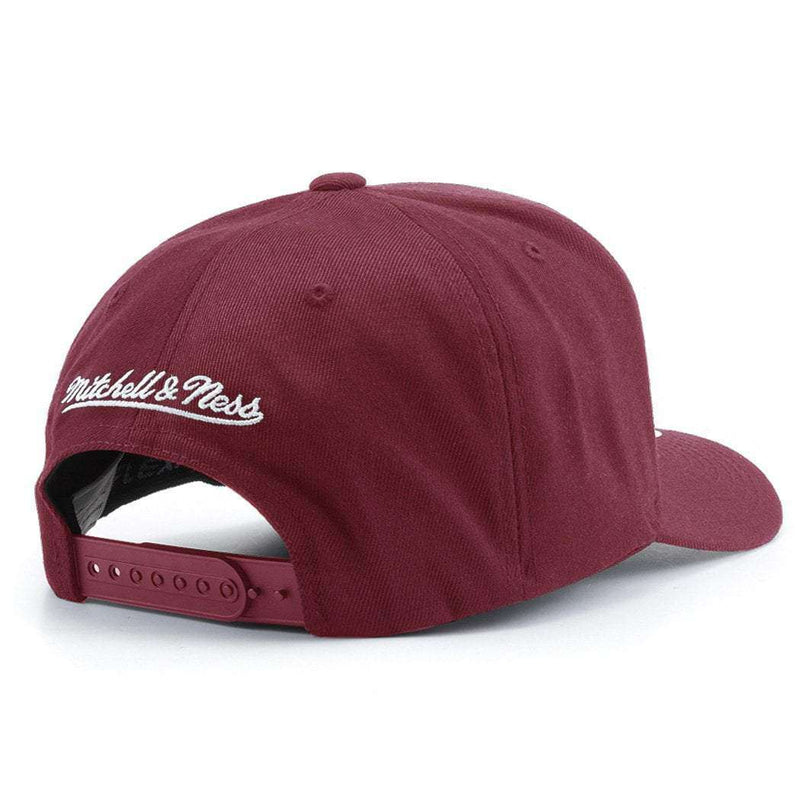 Cleveland Cavaliers Mitchell & Ness NBA 110 Script Curve Snapback Hat - Burgundy