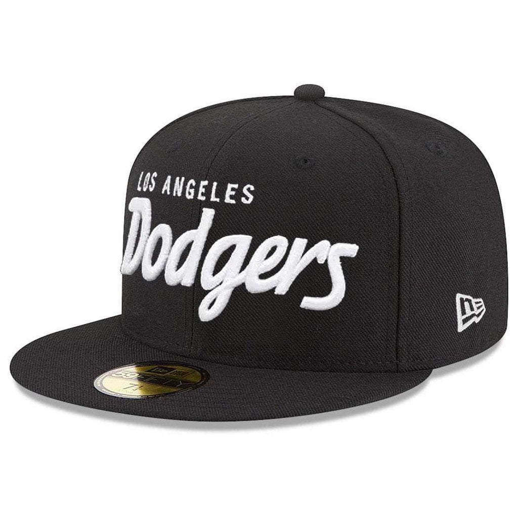 a24373b4 Los Angeles Dodgers New Era MLB Black & White Script 59FIFTY Fitted Hat