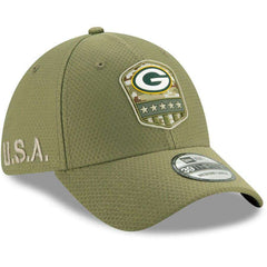 Green Bay Packers New Era NFL 2019 Salute To Service 39THIRTY Stretch-Fit Curve Hat - Army