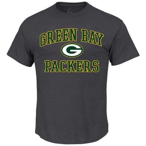 Green Bay Packers Majestic NFL Heart & Soul T-Shirt - Charcoal