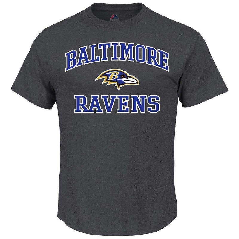Baltimore Ravens Majestic NFL Heart & Soul T-Shirt - Charcoal