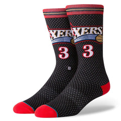 Allen Iverson Philadelphia 76ers Stance NBA HWC Throwback Jersey Crew Socks - Black