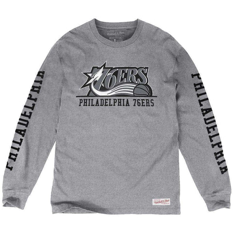 Philadelphia 76ers Mitchell & Ness NBA Cropped XL Long Sleeve T-Shirt - Heather Grey