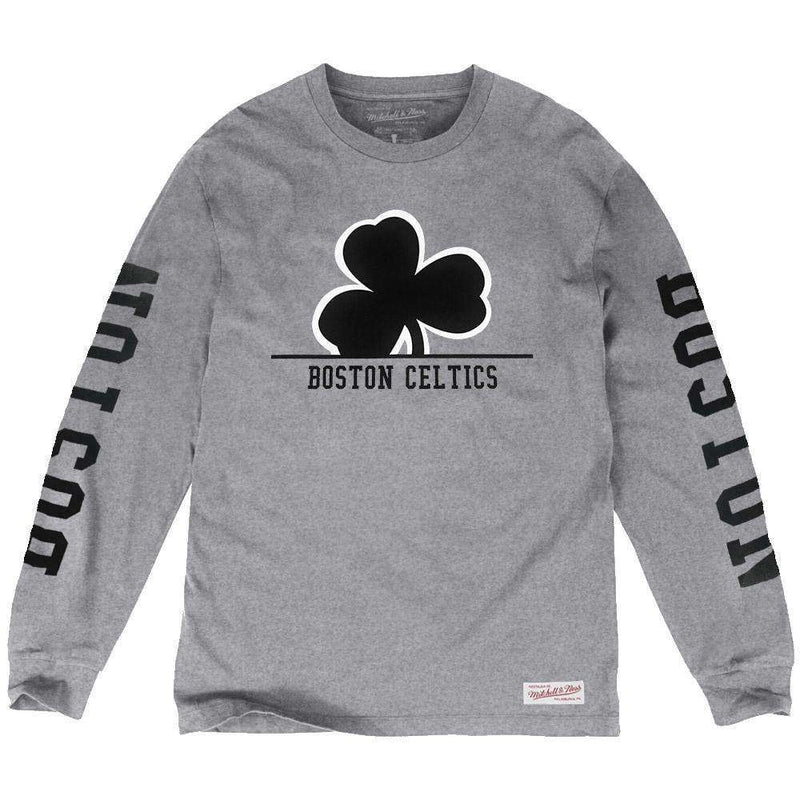 Boston Celtics Mitchell & Ness NBA Cropped XL Long Sleeve T-Shirt - Heather Grey