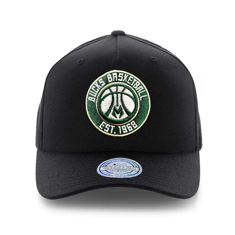 Milwaukee Bucks Mitchell & Ness NBA 110 Team Curve Snapback Hat - Black