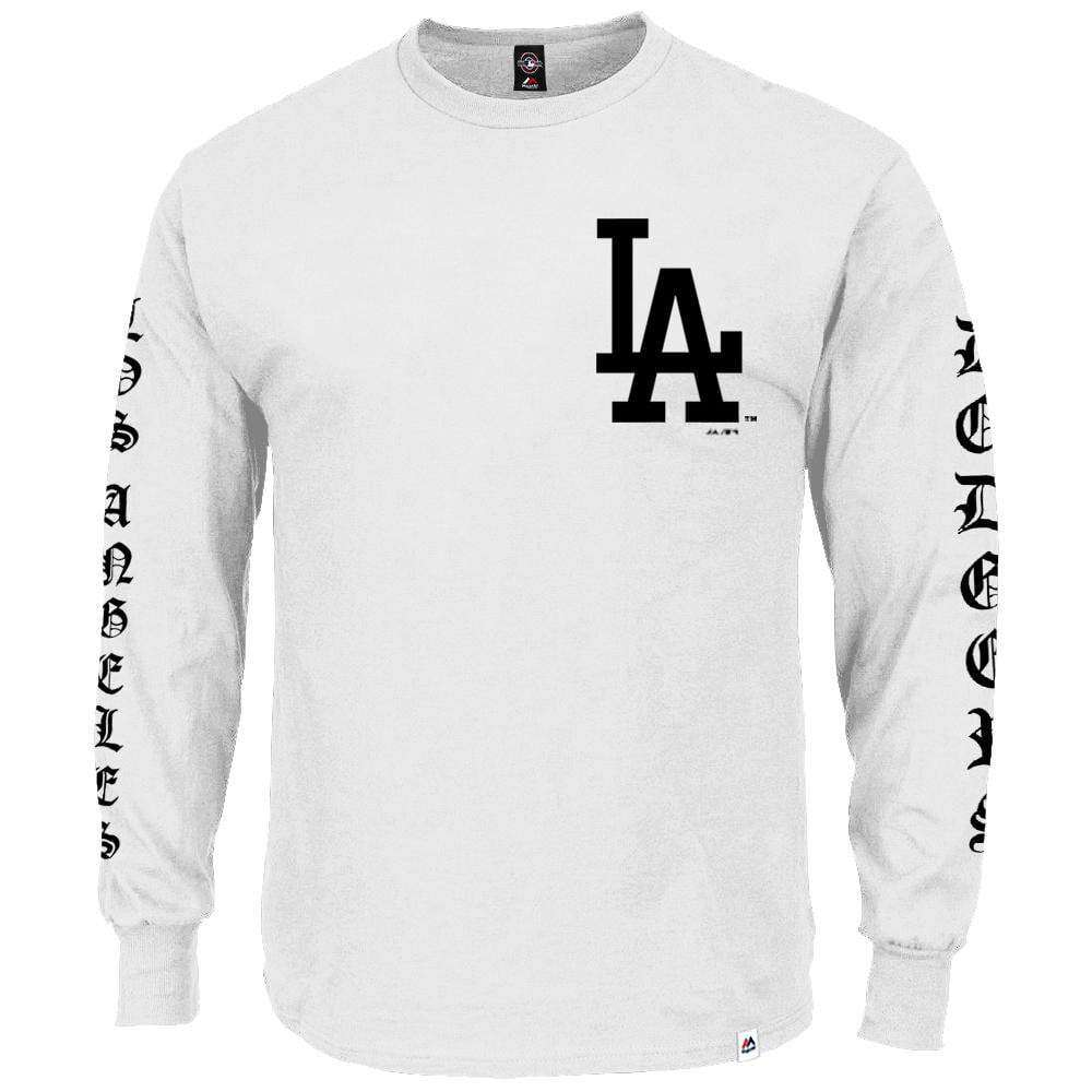 d21cb8f60 Los Angeles Dodgers Majestic MLB Gothic Long Sleeve T-Shirt - White ...
