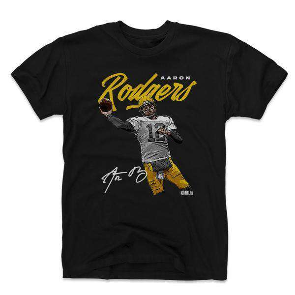 Aaron Rodgers Green Bay Packers 500 Level NFL Script T-Shirt - Black