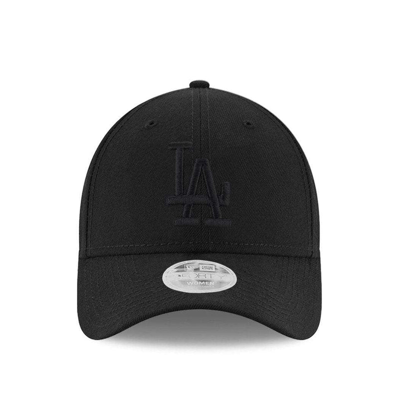 Womens Los Angeles Dodgers New Era MLB Black On Black 9FORTY Curve Hat