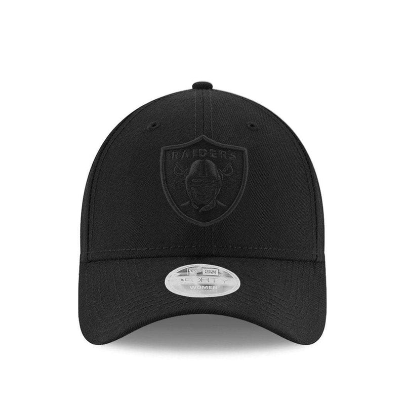 Womens Oakland Raiders New Era NFL Black On Black 9FORTY Curve Hat