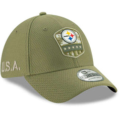 Pittsburgh Steelers New Era NFL 2019 Salute To Service 39THIRTY Stretch-Fit Curve Hat - Army