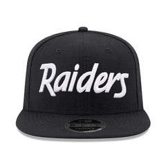 Oakland Raiders New Era NFL Black & White Script OF 9FIFTY Snapback Hat