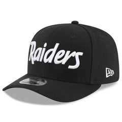Oakland Raiders New Era NFL Black & White Script Pre-Curved OF 9FIFTY Snapback Hat