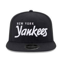 New York Yankees New Era MLB Black & White Script OF 9FIFTY Snapback Hat