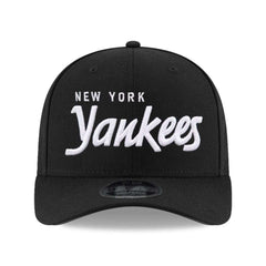 New York Yankees New Era MLB Black & White Script Pre-Curved OF 9FIFTY Snapback Hat