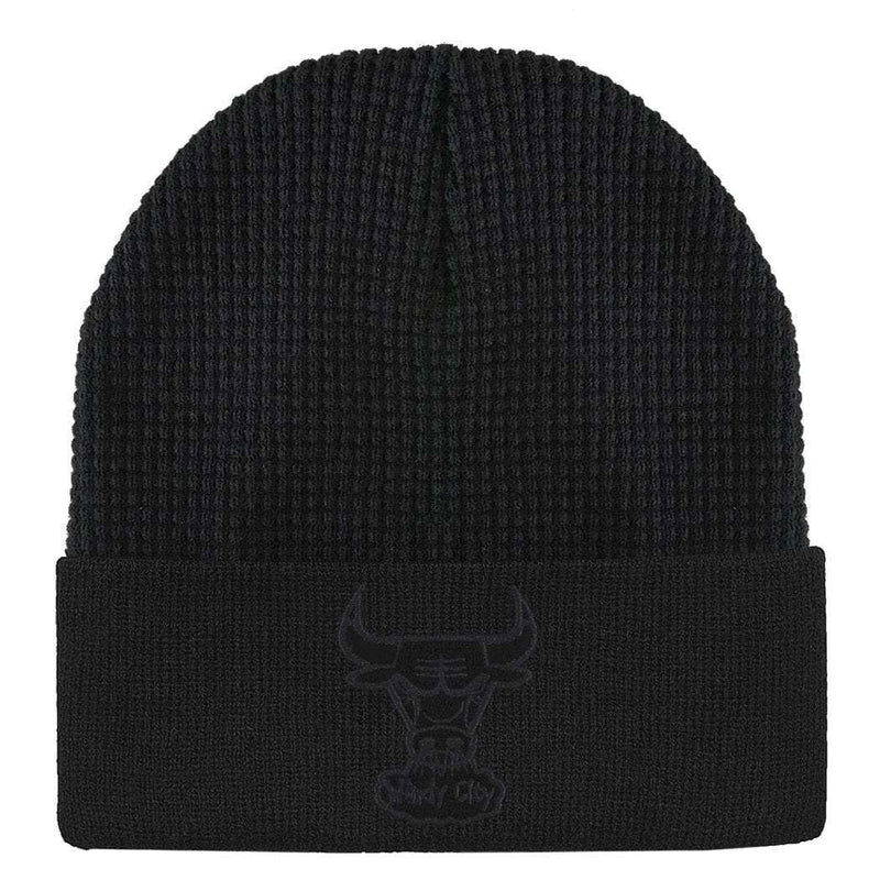 Chicago Bulls Mitchell & Ness NBA Waffle Cuff Knit Beanie - Black