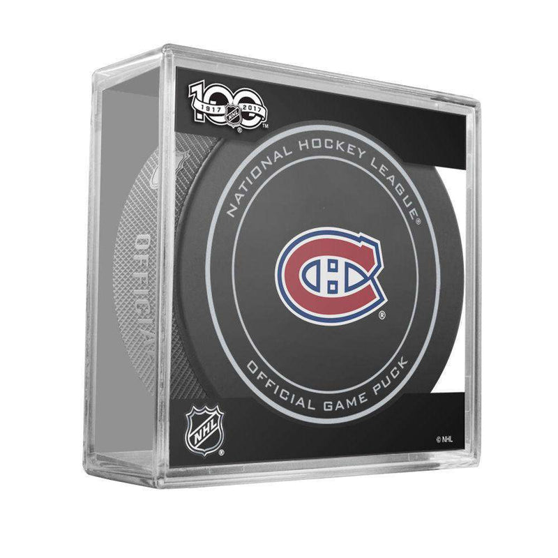 Montreal Canadiens Sher-Wood NHL Anniversary Puck w/Case