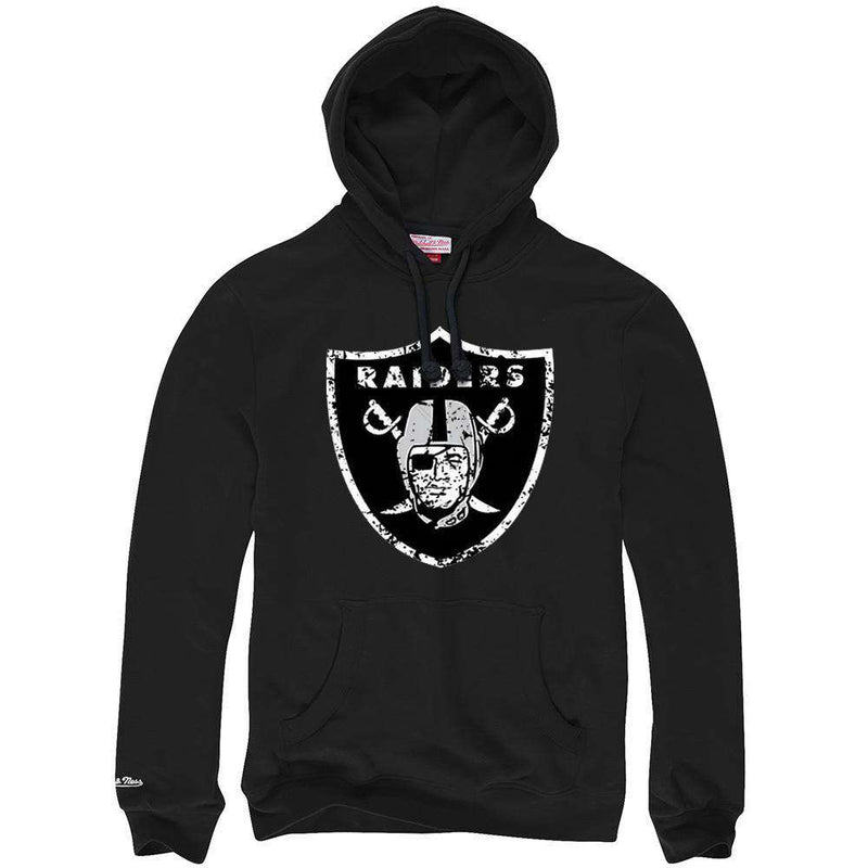 Oakland Raiders Mitchell & Ness NFL Distressed Logo Hoodie Jumper - Black